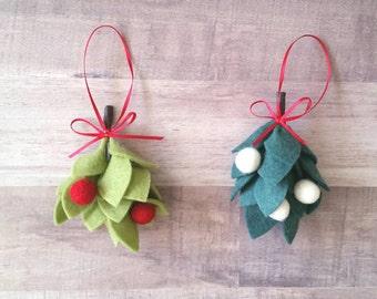 Mistletoe Ornament, Felt Mistletoe, Christmas Mistletoe, Mistletoe Decoration