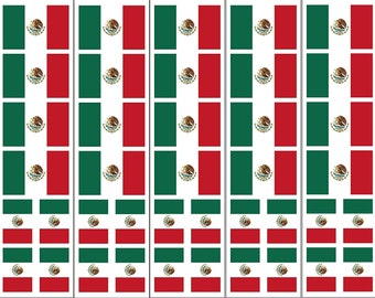 40 Removable Stickers: Mexico Flag, Mexican Party Favors, Decals