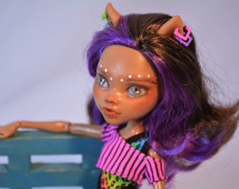 Monster High OOAK, Clawdeen Wolf, Makeover, Faceup, Repainted Dolls, Remade Doll