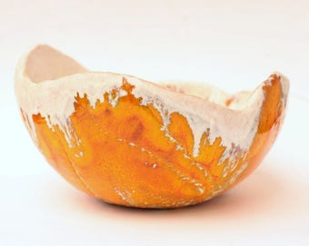 ceramic bowl/ medium bowl/ handmade bowl/ Snowy Orange/ ideal gift/ for wedding/ for anniversary