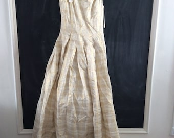 Elegant gold and cream plaid gown Dress
