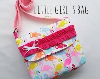 Little Girl's Pink Bag with Bow and Frills! Girls Handbag, Kids Messenger Bag, Shoulder bag, Crossbody bag, Personalized gift! Pink Flamingo