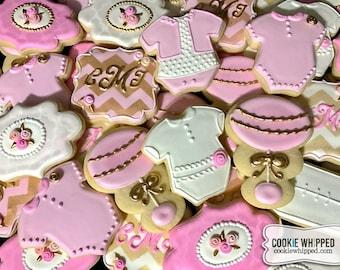 Elegant Pink & Gold Baby Girl Cookies - 2 Dozen