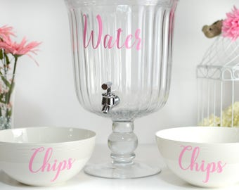 Elegant chips and water decal, Pink party decals, Pink food decals, DIY party decals, Party food labels