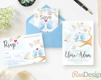 Printable Bluebird Spring Wedding Invitation Template