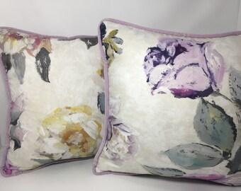 "20"" Designers Guild Viola Heather floral with velvet back PILLOW COVER"