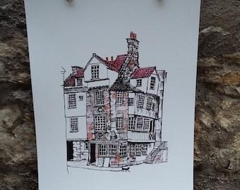 John Knox House and Cat-Scottish art-Scotland-Historic-travel-Edinburgh art-Edinburgh-old building-interesting-unusual art-Edinburgh illustr