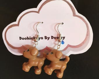 Brown dog puppy Lego earrings