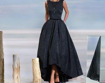 Black wedding dress, Black evening dress, Long black evening dress, Jacquard evening dress