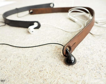 Handmade Leather Earbuds Holder