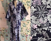 Vintage Cotton Navy Floral Full Length Yucata Kimono.  Medium. Navy, purple, daisy, tulip.