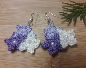 Crochet earrings, crochet flower earrings, crochet jewelry, flower earrings