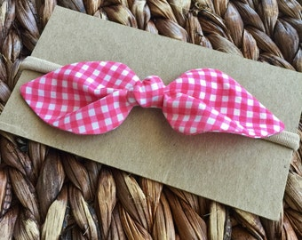 Pink Gingham Bow - Picnic Blanket Bow - Spring Bow - Pink and White Check Bow - Gingham Bow