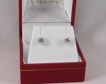 Diamond Earrings, All Natural, 0.82 Carats. G-H/SI. 14k White Gold w/ Screw Backs