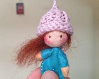 Miniature Waldorf Doll - Felted Doll - Wool Doll - Waldorf Doll