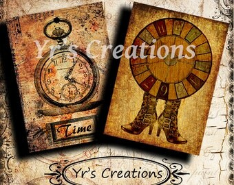 Steampunk ATC cards TIME TRAVEL Vintage Images Printable Paper for Scrapbooking, Mixed Media, Atc, Aceo, Tags, and Artwork. Instant Download
