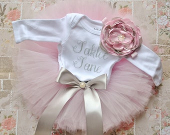 Pink and silver gray shirt, tutu, and headband set. Infant, Toddler