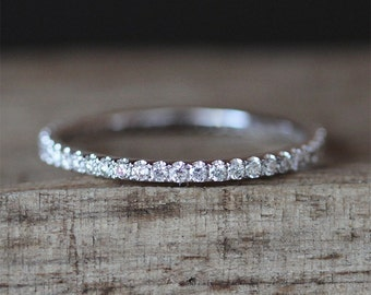 Danity Wedding Ring Full Eternity Pave Diamonds Ring Stackable Match Ring 14K White Gold Ring Bridal Band Engagement Wedding Band