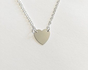 Silver Flat Solid Heart Pendant Necklace