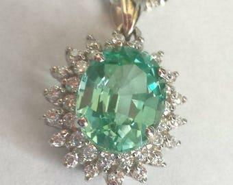 Neon Blue Green Paraiba Tourmaline Pendant, Paraiba Pendant with Sapphires