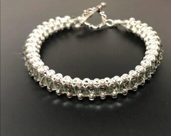 Black Diamond Swarovski Crystal and Sterling Silver Bracelet
