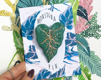 Monstera Pin, Plant Pin, Botanical Pin, Potted Plant, Illustrated Pin, Badge, Brooch, Handmade Clay Pin, Totally Unique.