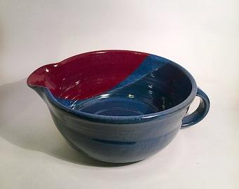pottery bowl, stoneware batter bowl, pottery mixing bowl, batter bowl, red pottery, blue mixing bowl, blue pottery, ceramic bowl, pottery