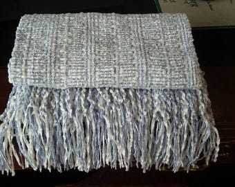 Hand woven light blue and white chenille scarf