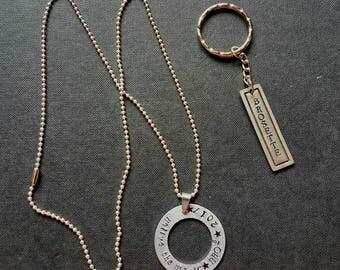 Name pendant on chain and keyring combo