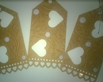 Valentines gift tags/Heart gift tags/Kraft and white heart gift tags/Embossed gift tags