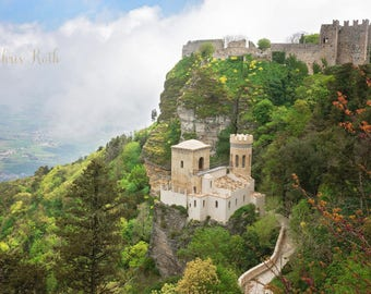 Mountain Top Castle, Sicily, Travel Photography, Home Decor, Wall Art