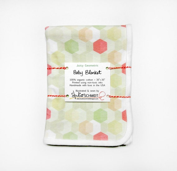 """Juicy Geometric"" Organic Cotton Baby Receiving Blanket (0-3M size)"