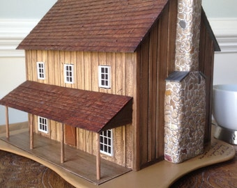 Miniature Cattle Ranch House - O scale & 1/4 scale-CIRCA 1880 Wyoming Territory/model railroad/miniature collectible/tabletop display