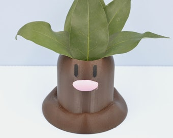 Diglett pokemon planter / chocolate Pokemon vase / Succulent Planter / 3D printedpokemon / Mini planter