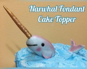 2 pc set Narwhal Fondant Cake Topper