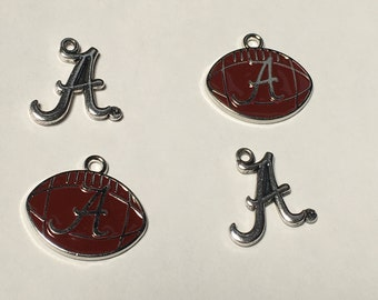 4 Alabama Crimson Tide football Charms charms for DIY crafting. Silver tone color and enamel Bama