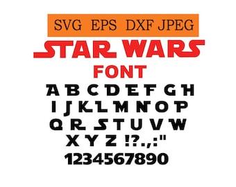 Star wars font in SVG / Eps / Dxf / Jpg files INSTANT DOWNLOAD!