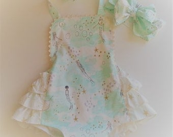 Baby Girl Romper - Mermaid Romper - Bubble Romper - Ruffle Romper - Ruffle Sunsuit - Beach Romper - Sarah Jane Magic - Baby Girl Clothes