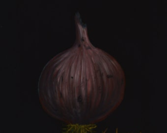 RED ONION  painting of onions  kitchen decor  onion paintings  still life paintings  art for kitchens