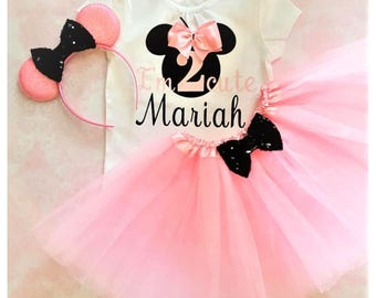 Pink and Black Minnie Mouse 2nd birthday outfit,2nd birthday tutu,2nd birthday girl outfit,pink birthday tutu,pink tutu,girl birthday tutu