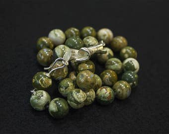 Rainforest Jasper with sterling silver clasp
