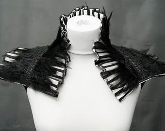 Stripes taffeta black and white feather shrug collar taffeta feather collar with hacklefedern
