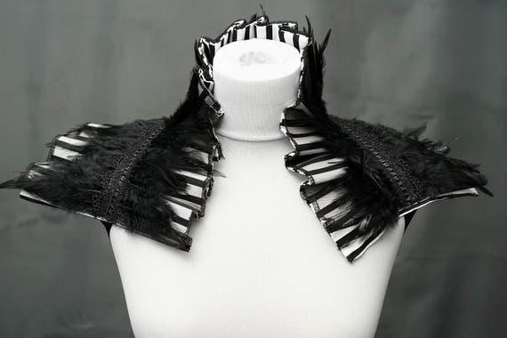 Stripes taffeta black and white feather shrug collar taffeta feather collar with hacklefedern