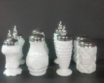 Milk glass salt and pepper shakers sets.  Buyer's choice.  4 sets to choose from.
