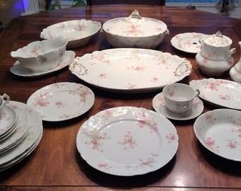 SALE:  C.H. Field Haviland Limoges France Pink Rose GDA Dinner Set - 29 Pieces, Scalloped Edge