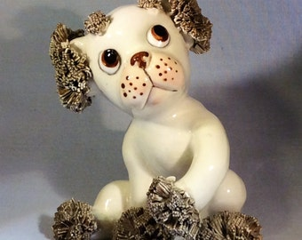 ON SALE:  Vintage Spaghetti Dog - White with Brown Spaghetti Ears and Paws