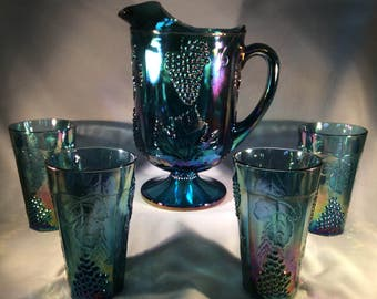 ON SALE:  Vintage Blue Carnival Glass Pitcher and Four (4) Tumblers - Grape Harvest Pattern