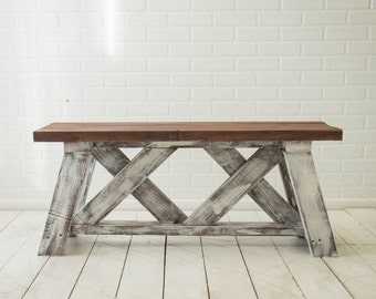 Rustic Farmhouse Bench/Coffee Table