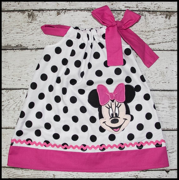 Super Cute Minnie Mouse Pillowcase style dress in Black and White Polka dot and hot Pink