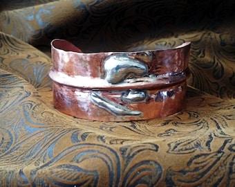 Copper Cuff Bracelet, Sterling Silver & Copper Cuff Bracelet, Wide Cuff Bracelet
